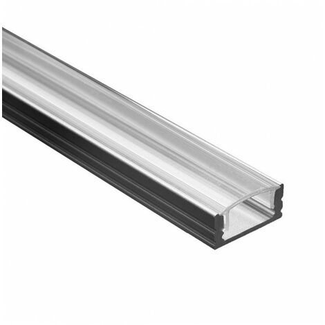 Profile Led - Serie U07 - 1,5 metres - Noir - Diffuseur transparent - Noir
