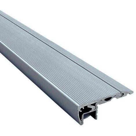 Profilé nez de marche d'escaliers pour éclairage ruban LED - aluminium - Diffuseur et embouts inclus (craft s01) | Diffuseur Givré - Longueur du profilé 2,95 m