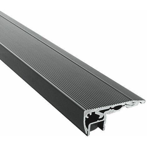 Profilé noir contre-marche escaliers pour ruban LED en aluminium + diffuseur (Craft S01) | Diffuseur Givré - Longueur du profilé 2 m