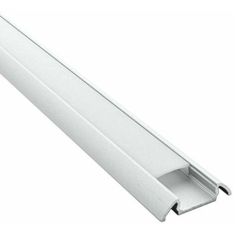Profilé plat pour ruban LED - aluminium (craft C11) | Diffuseur Givré - Longueur du profilé 1 m - Finition Aluminium