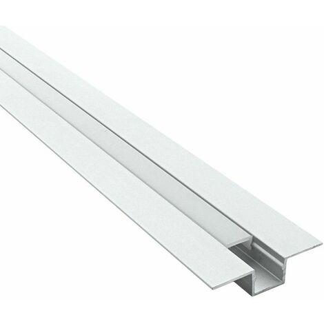 Profilé pour LED aluminium encastrable - cache joint (craft E09)   Diffuseur Givré - Longueur du profilé 2 m - Pour taille de ruban (en mm) 10 - Finition Aluminium