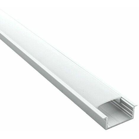 Profilé pour LED aluminium encastrable large (craft E08) | Diffuseur Givré - Longueur du profilé 2 m - Finition Aluminium - Pour taille de ruban (en mm) 20,5