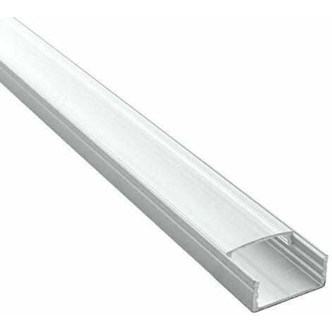 Profilé pour LED aluminium large (craft C09) | Diffuseur Transparent - Longueur du profilé 1 m - Finition Aluminium - Pour taille de ruban (en mm) 20,5