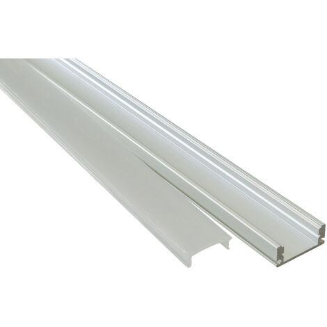 "main image of ""Profilo alluminio 2m U FLAT superfici piane strisce LED barra rigida cover opaca"""