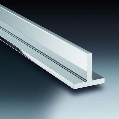 """Profilo """"T"""" alluminio cromo lucido mm. 15x15x1.5, mt. 2, Profilpas"""