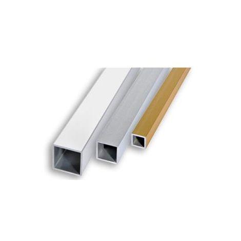 Profilo tubolare quadrato alluminio oro satinato, mm. 20x20, mt.2, Profilpas