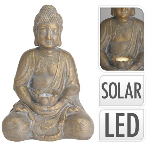 ProGarden Buddha With Solar Light Gold MGO - Gold