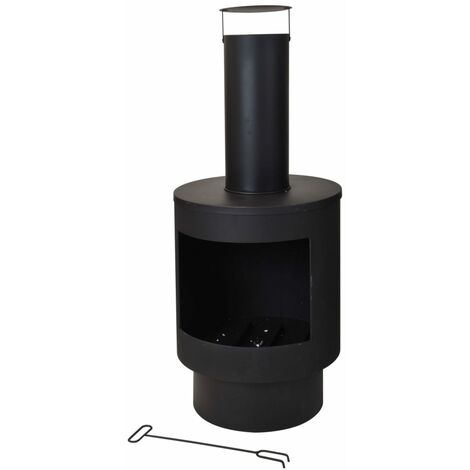 ProGarden Chimenea de metal 112 cm - Negro