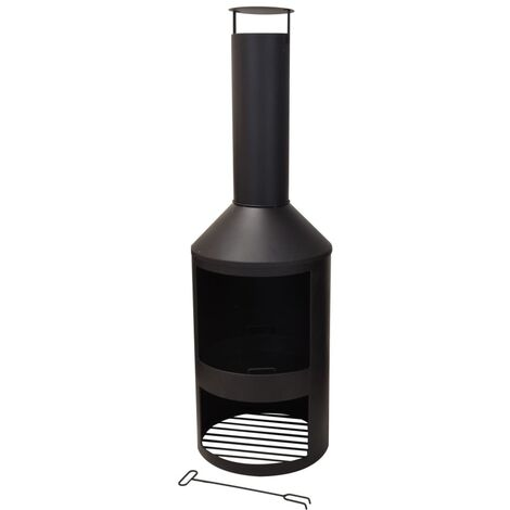 ProGarden Chimenea de metal 134 cm - Negro