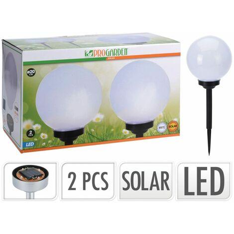ProGarden Ensemble de lampes solaires à LED Ball 2 pcs 20 cm Blanc