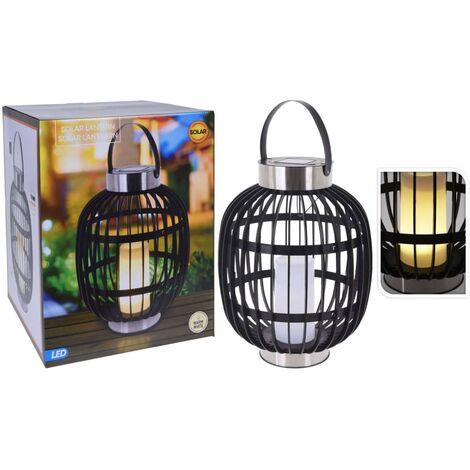 ProGarden Farol solar LED de jardín con vela negro 35 cm - Negro