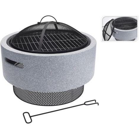 ProGarden Fire Bowl with BBQ Rack Round Light Grey 52x18.5 cm - Grey