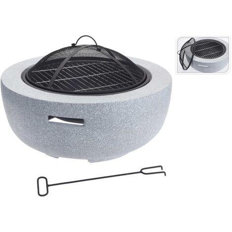 ProGarden Fire Bowl with BBQ Rack Round Light Grey 60x25 cm - Grey