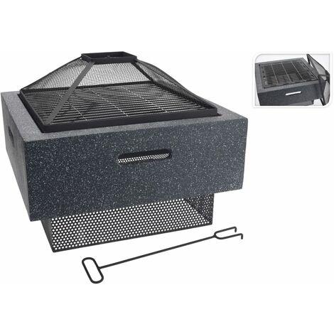 ProGarden Fire Bowl with BBQ Rack Square Dark Grey 52.5x52.5x18.5 cm - Grey