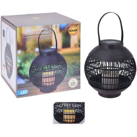 ProGarden Lampe solaire à LED Rotin avec bougie Noir