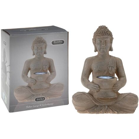 ProGarden Poly-stone Buddha with Solar Light - Brown