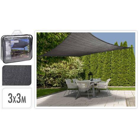 ProGarden Toile d'ombrage carrée Gris foncé 3x3 m
