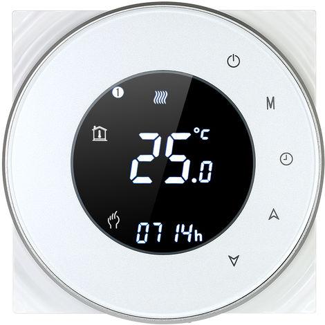 Programable caldera de gas de calefaccion del termostato de contacto seco controlador de temperatura, con luz de fondo de control por voz, blanca