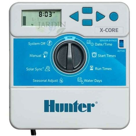 Programador de riego Hunter XCore 6 zonas interior