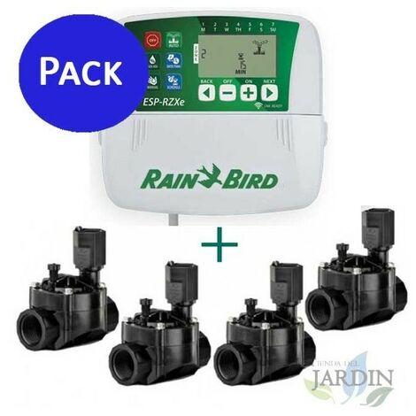 """Programador Rain Bird RZX 4 zonas interior + 4 Electroválvulas 100HV 24V 1"""""""