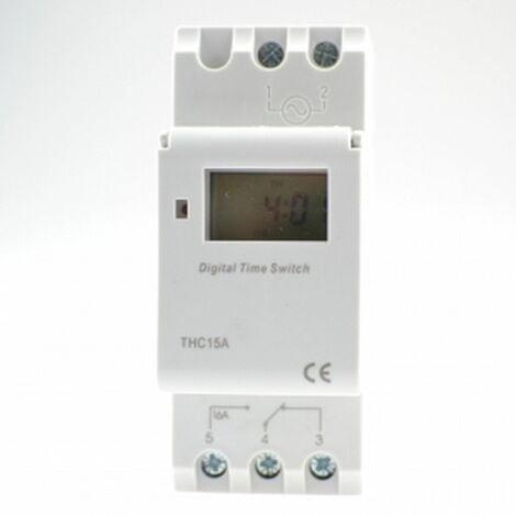 Programador/Temporizador semanal/Rele digital THC15A 220V AC 16A,instalable sobre Carril DIN.