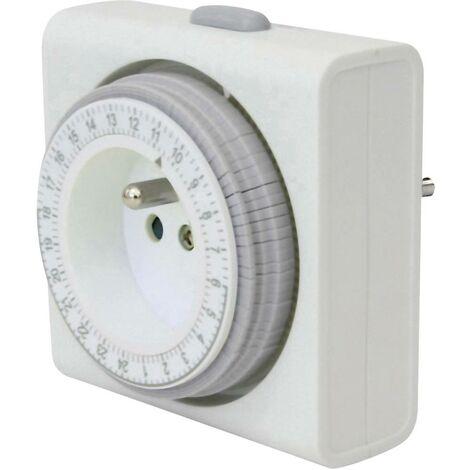 Programmateur horaire pour prise électrique analogique GAO 7FD/3A programme journalier 3680 W