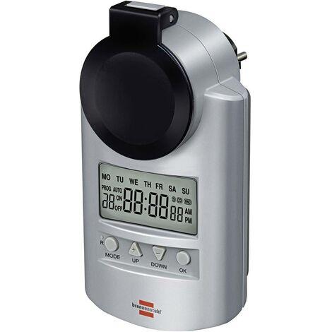 Programmateur horaire pour prise électrique numérique Brennenstuhl 1507491 programme hebdomadaire 23 h/ 59 min 3680 W IP44 fonction compte-à-rebours, fonction