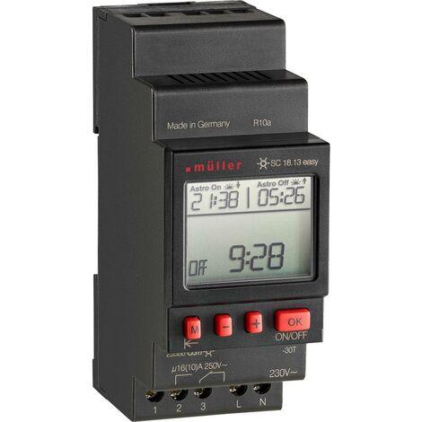 Programmateur horaire pour rail Müller SC 18.13 easy NFC 23588 230 V 16 A/250 V 1 pc(s)