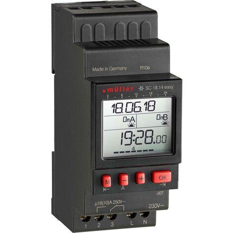 Programmateur horaire pour rail Müller SC 18.14 easy NFC SC 18.14 easy numérique 230 V 16 A/250 V 1 pc(s)