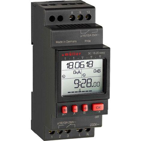 Programmateur horaire pour rail Müller SC 18.20 easy NFC 23635 230 V 16 A/250 V 1 pc(s) S731061
