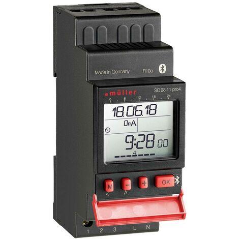 Programmateur horaire pour rail Müller SC 28.11 pro4 22384 numérique 12 V/DC, 12 V/AC 16 A/250 V 1 pc(s)