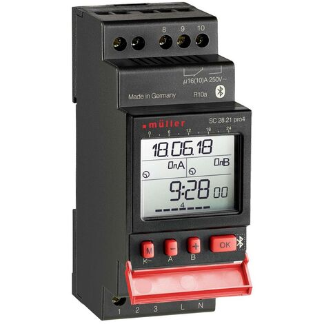 Programmateur horaire pour rail Müller SC 28.21 pro 22385 numérique 12 V/DC, 12 V/AC 16 A/250 V 1 pc(s)