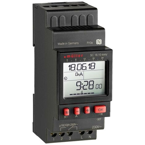 Programmateur horaire pour rail Müller SC18.10 easy, 24 V ACDC, 23823 numérique 24 V/DC, 24 V/AC 16 A/250 V 1 pc(s)