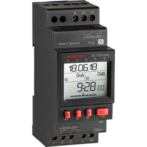 Programmateur horaire pour rail Müller SC18.20 easy, 24 V ACDC 23824 numérique 24 V/DC, 24 V/AC 16 A/250 V 1 pc(s)