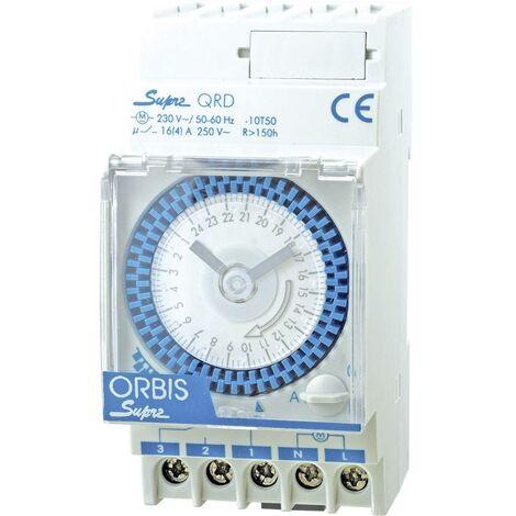 Programmateur horaire pour rail ORBIS Zeitschalttechnik SUPRA QRS 230V OB290332N analogique 120 V/AC, 230 V/AC, 12 V/AC, 12 V/DC, 24 V/AC, 24 V/DC, 48 V/AC, 48