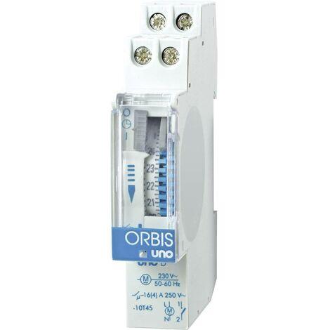 Programmateur horaire pour rail ORBIS Zeitschalttechnik UNO D 230 V OB400132 analogique 120 V/AC, 230 V/AC, 12 V/AC, 12 V/DC, 24 V/AC, 24 V/DC, 48 V/AC, 48