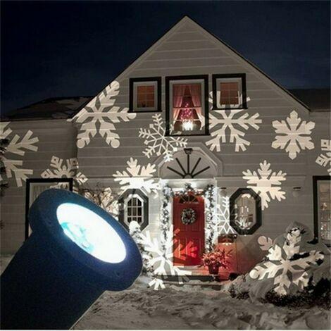 Proiettore Luci Natalizie Effetto Neve.Proiettore Faretto Led Effetto Fiocco Di Neve Bianca Addobbi Natale