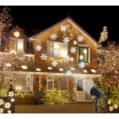 Proiettore Luci Bianche Natalizie.Proiettore Led Laser Fiocchi Di Neve Snowflakes Natale Luce Bianca Esterno Impermeabile Novita