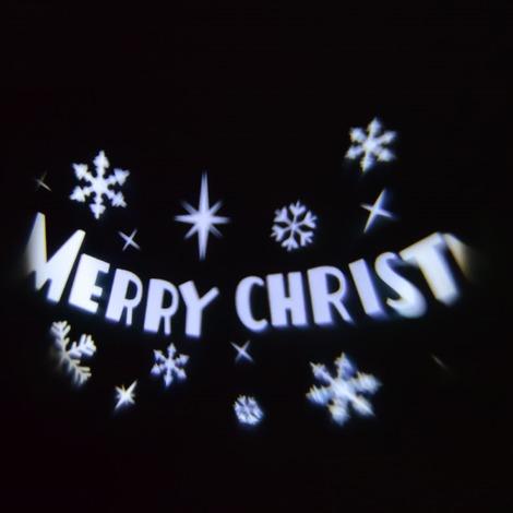 Luci Natalizie Con Proiettore.Proiettore Luci Natale Merry Christmas Led Bianco Con Movimento Automatico