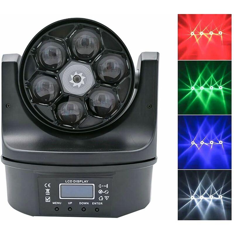 Proiettore rgb faro 6x15W led centrale testa mobile rotante effetti disco strobo