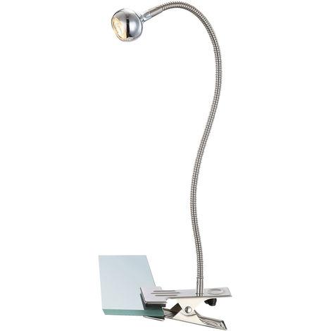 Projecteur à pince à LED, argent, bras flexo, max. Hauteur 48 cm, SERPENT