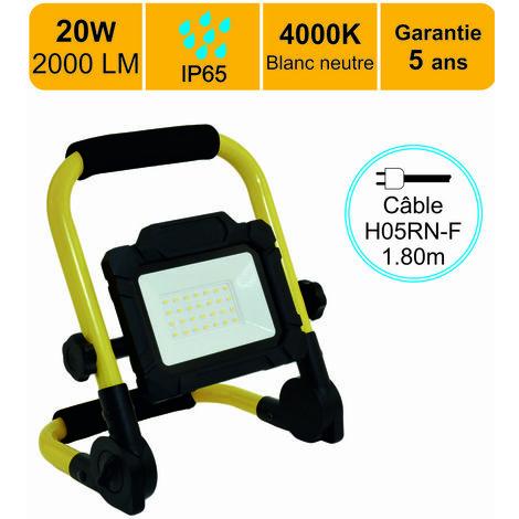Projecteur de chantier LED 20W 1600 LM IP65Blanc neutre (4000K) câble 1,5M - garantie 5 ans