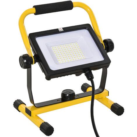 Projecteur de chantier LED 50W 5000K blanc - projecteur LED fil inclus 3 m - étanche IP65 - projecteur chantier pivotant 360° - métal alu. jaune noir