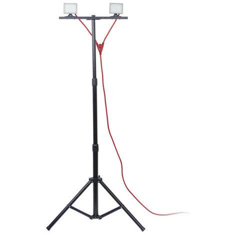 Projecteur de Chantier LED sur Pied, Filaire, x2 Projecteurs, 40 W, 2800 Lumens   Xanlite