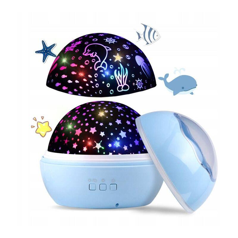 Projecteur de ciel étoilé à LED, veilleuse pour bébé, lampe de projection 2 en 1 du monde de l'océan avec câble USB, changement de 8 couleurs pour la