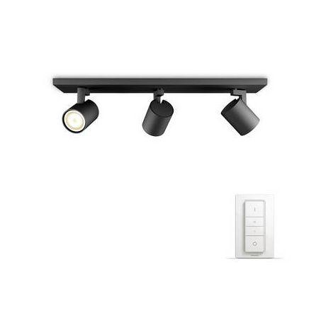 Projecteur de plafond 16.5 W 3x GU10 Philips Lighting Runner 5309330P7 noir 1 pc(s)