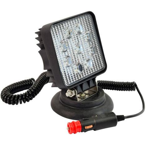Projecteur de travail LED carré 27W aimenté 12V - 24V - allume cigares
