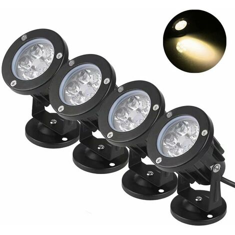 Projecteur d'extérieur LED rond (5W lumière chaude * 4pcs Lumière d'inondation