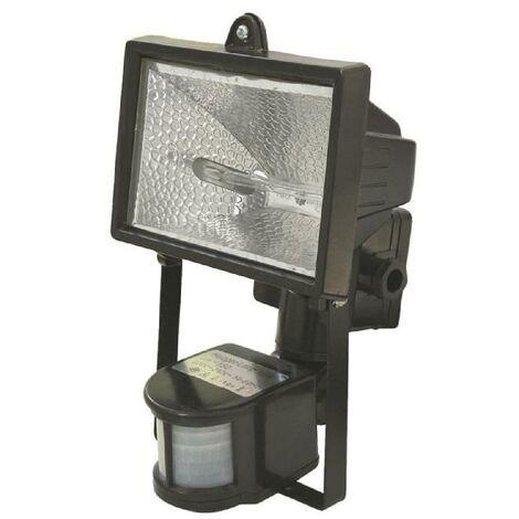 projecteur halogene 150w noir avec detecteur 700145. Black Bedroom Furniture Sets. Home Design Ideas