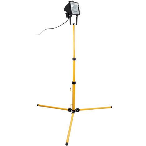 Projecteur Halogene 400W Jaune Chantier sur trépied - IP54 NF
